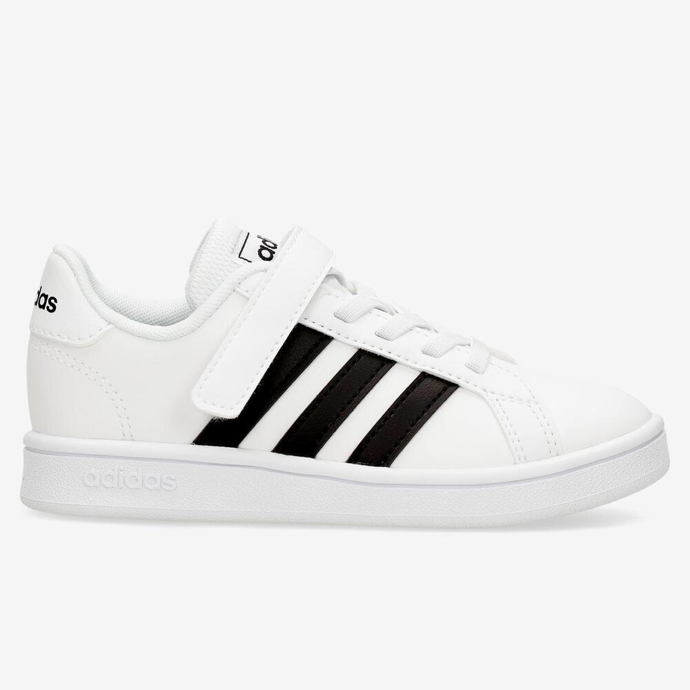 Adidas Grand Court Blanco-Verde Velcro Niño