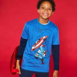 Camiseta Manga Larga Capitán América Junior