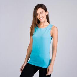 Camiseta Sin Manga UP BASICS Azul Celeste Mujer