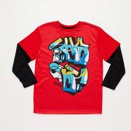 Camiseta Manga Doble SILVER ROBOT Rojo Niño (10-16)