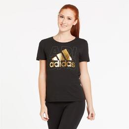 ADIDAS Camiseta Manga Larga Negro Oro Mujer