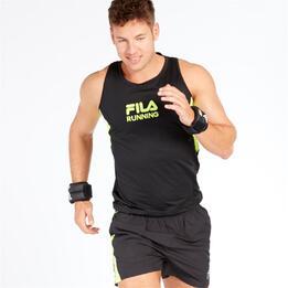 FILA TRAINING Camiseta Running Negro Verde Hombre
