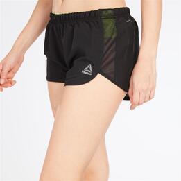 Pantalon Corto Running Mujer Reebok 2In Negro Verde