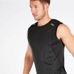 Camiseta Running Negra Verde Hombre Fila