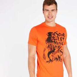 Camiseta Manga Corta UP STAMPS Gris Naranja Hombre