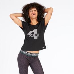 Camiseta Silver Round Negro Mujer