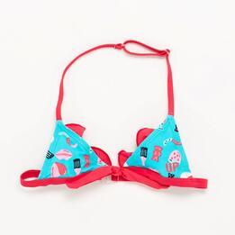 Top Bikini Niña Turquesa Rosa Up (2-8)