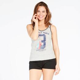 Camiseta Tirantes UP STAMPS Gris Mujer