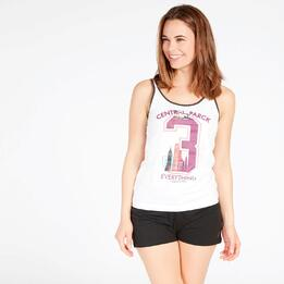Camiseta Tirantes Blanca Up Stamps Mujer