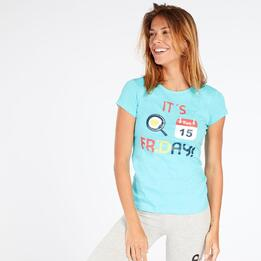 Camiseta Azul Up Stamps Mujer