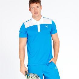 PUMA Polo Tenis Pádel Azul Blanco Hombre