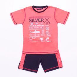 Conjunto Pantalón y Camiseta SILVER Coral Azul Niño (6-16)
