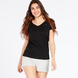 Camiseta Pico UP BASIC Negro Mujer