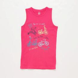 Camiseta Sin Mangas Rosa Niña Up Stamps