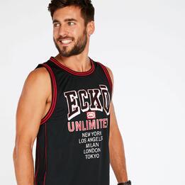 Camiseta Tirantes Negro Rojo Hombre Ecko