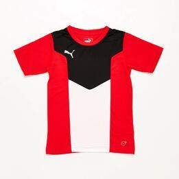 Camiseta Fútbol Niño Puma Rojo Negro