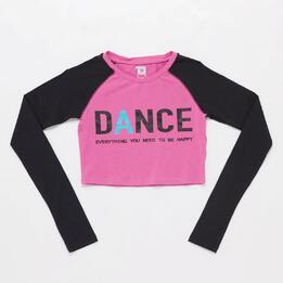 Camiseta Crop Rosa Niña Ílico Danza (8-14)