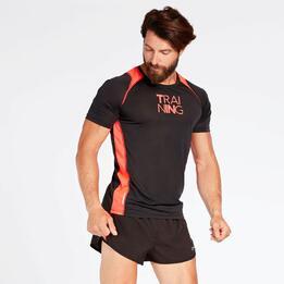 Camiseta Running Negra Naranja Hombre Ipso Combi