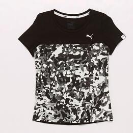 Camiseta Puma Estampada Negra Niña
