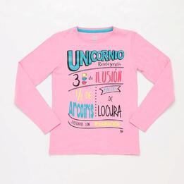 Camiseta Manga Larga Unicornio Rosa Niña Up Stamps
