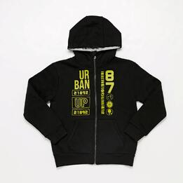 Sudadera Cremallera Negra Junior Up Basic