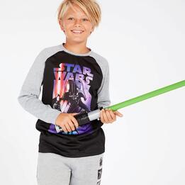 Camiseta Star Wars Negra Gris Niño (10-16)