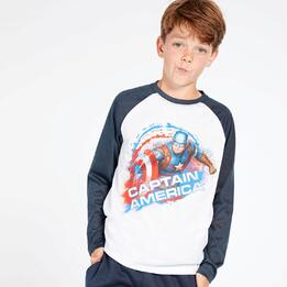 Camiseta Capitán América Blanca Azul Niño (10-16)