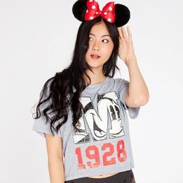 Camiseta Mickey Gris Claro Mujer