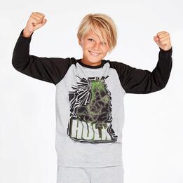 Camiseta Hulk Gris Negro Niño (10-16)