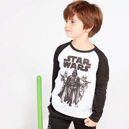 Camiseta Star Wars Blanca Negra Niño (2-8)