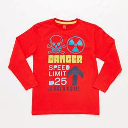 Camiseta Manga Larga Roja Danfer Junior Up Stamps