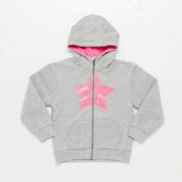 Sudadera Capucha Gris Niña Up Basic