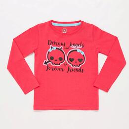 Camiseta Manga Larga Calaveras Rosas Niña Up Stamps