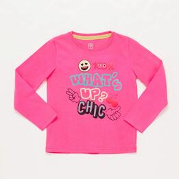 Camiseta Manga Larga Fucsia Niña Up