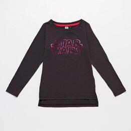 Camiseta Star Wars Gris Oscuro Niña