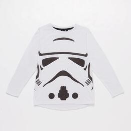 Camiseta Star Wars Blanca Gris Niña