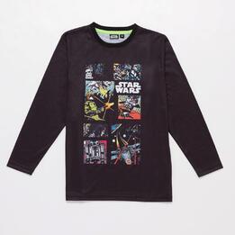 Camiseta Manga Larga Star Wars Niño Negra