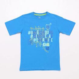 Camiseta Azul Up Stamps Junior