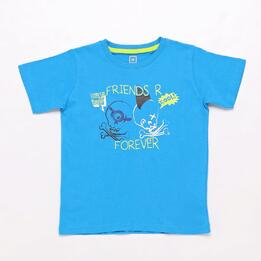 Camiseta Azul Marino Up Stamps Niño