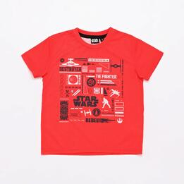 Camiseta Star Wars Roja Niño