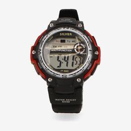 Reloj Deportivo Negro Rojo Silver