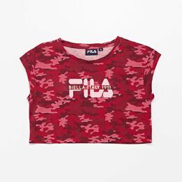 Camiseta Crop Fila Rosa Junior