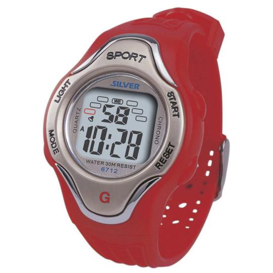 Reloj Digital SILVER Rojo Mujer