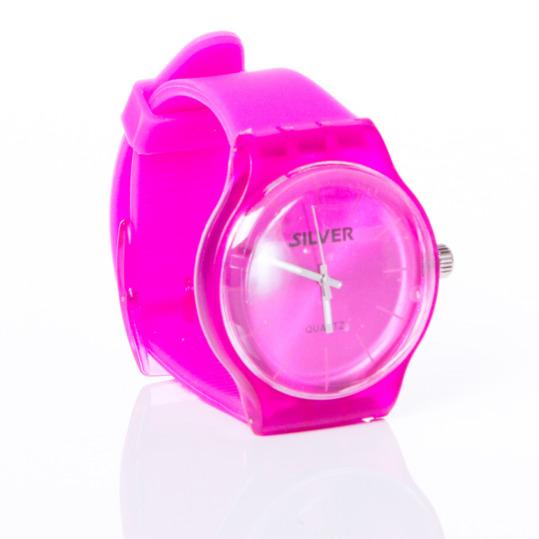 Reloj Sport Goma SILVER Rosa Fucsia