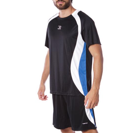 Equipación Fútbol DAFOR Hombre Negro Blanco Azul