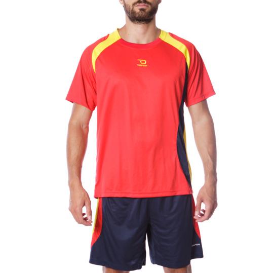 Equipación Fútbol DAFOR Hombre Rojo Morado Amarillo
