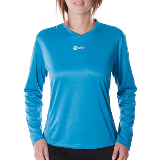 Camiseta IPSO manga larga mujer de running en turquesa