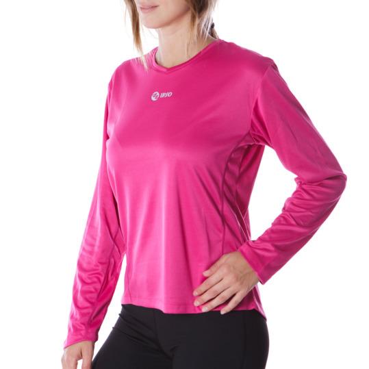 Camiseta IPSO manga larga mujer de running en fresa