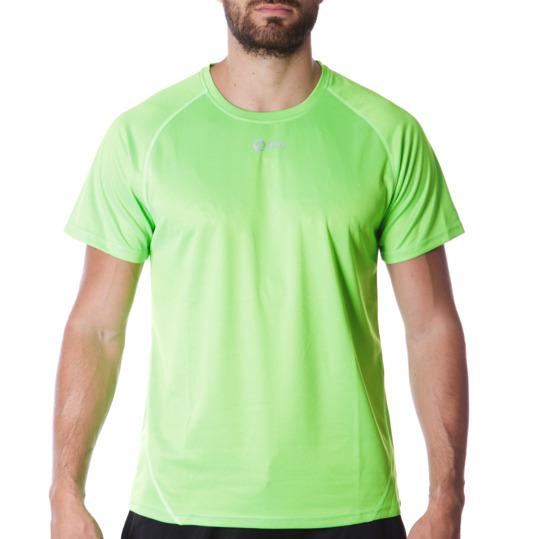 Camiseta IPSO manga corta de Running hombre en flúor