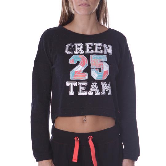 Sudadera Moda SILVER Green Team Negro Mujer